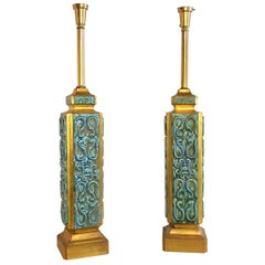 Pair of Large Turquoise Ceramic Jefferson Poole Pottery Table Lamps