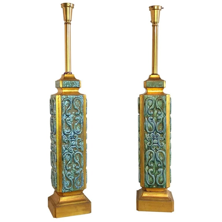 Pair of Large Turquoise Ceramic Jefferson Poole Style Pottery Table Lamps