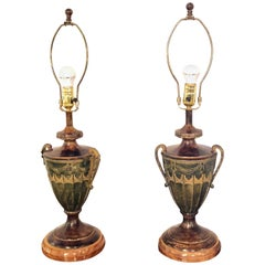 Pair Mid Century Modern Urn Form Gilt Painted Twin Handled Aladdin 35Table Lamps