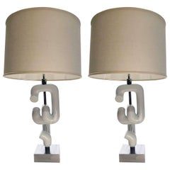 Pair of 1960s Sonneman Interlocking Sculpture Table Lamps