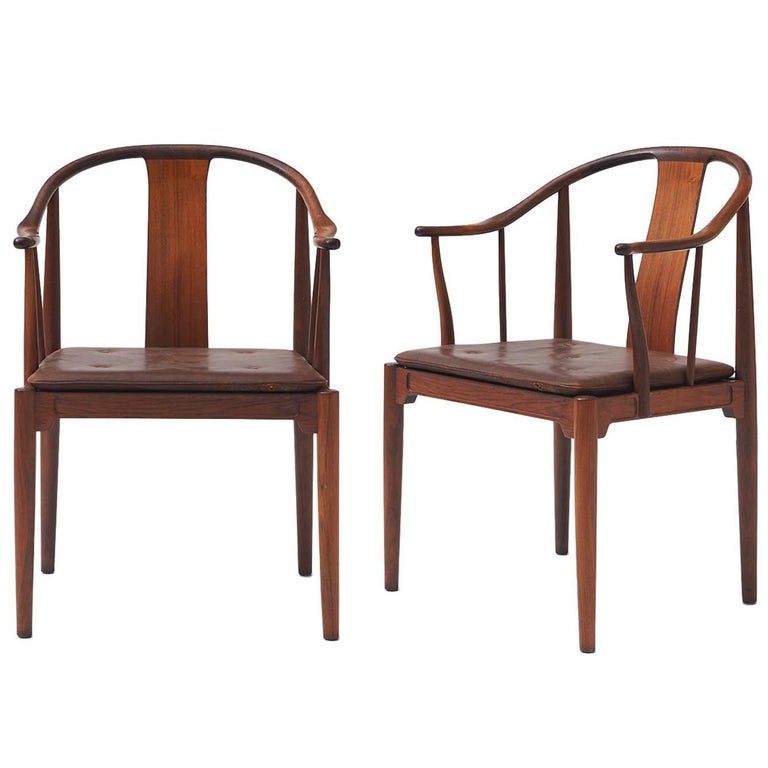 """Pair of Rosewood """"China"""" Chairs by Hans J Wegner"""