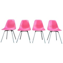 Four Supremely Rare Flamingo Pink Herman Miller Eames