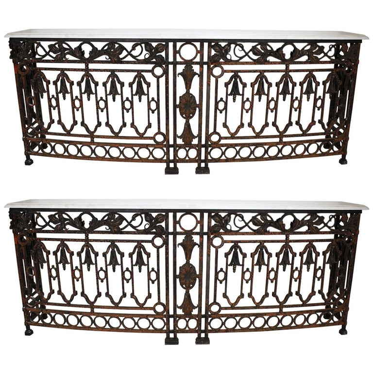 Pair of French 19th Century Baroque Serpentine Wrought Iron Wall Console Tables