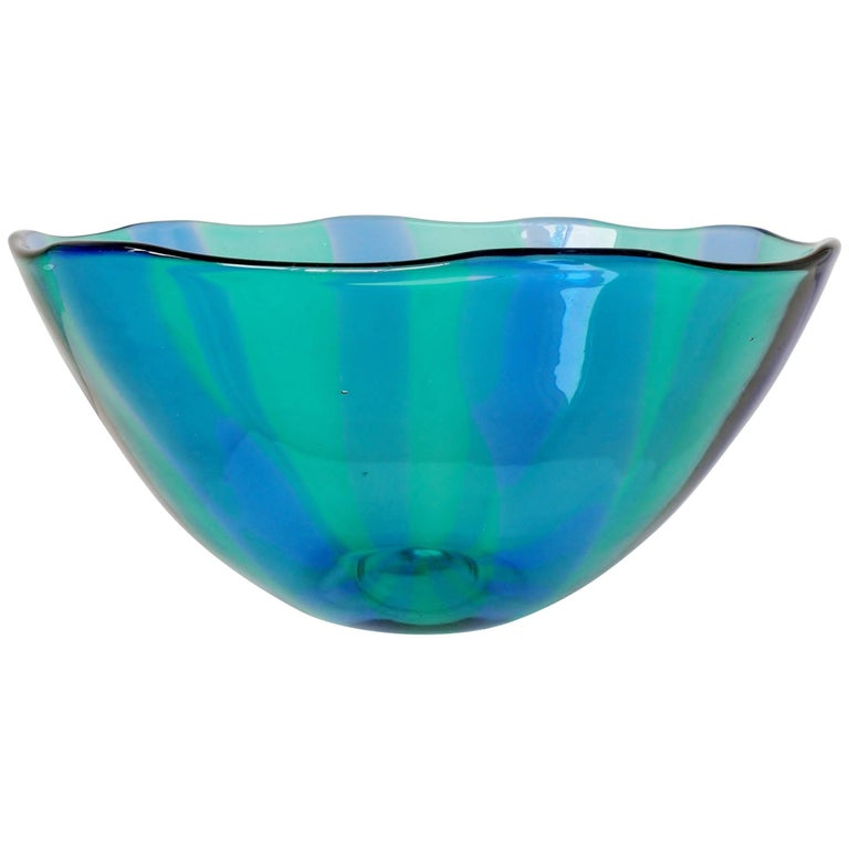 Large Venini Fulvio Bianconi Fasce Verticali Green and Blue Bowl For Sale