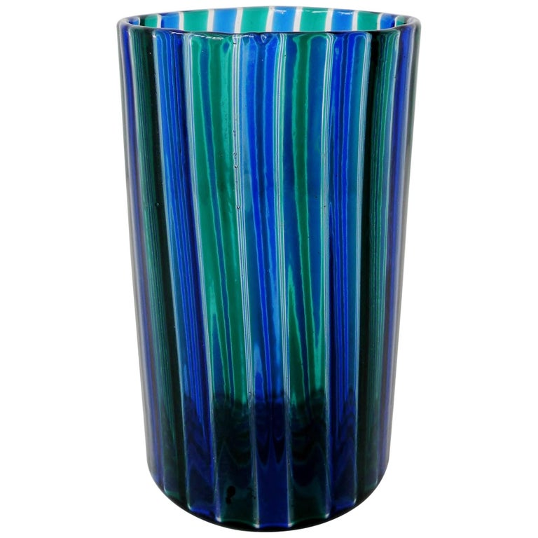 Venini 1960s Gio Ponti Green and Blue Striped Beaker Vase
