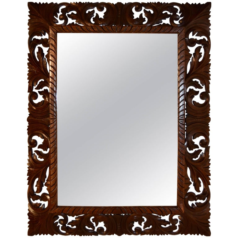 19th Century Carved English Oak Mirror