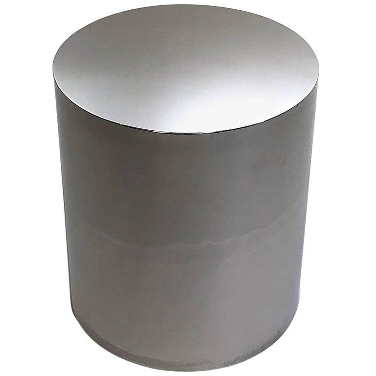 Chrome Drum Coffee Table: Chrome Cylinder Drum Side Table At 1stdibs