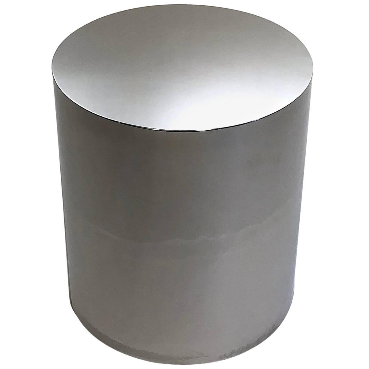 Chrome Cylinder Drum Side Table For Sale