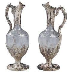 Pair of French Silver Mounted and Cut Crystal Claret Jugs