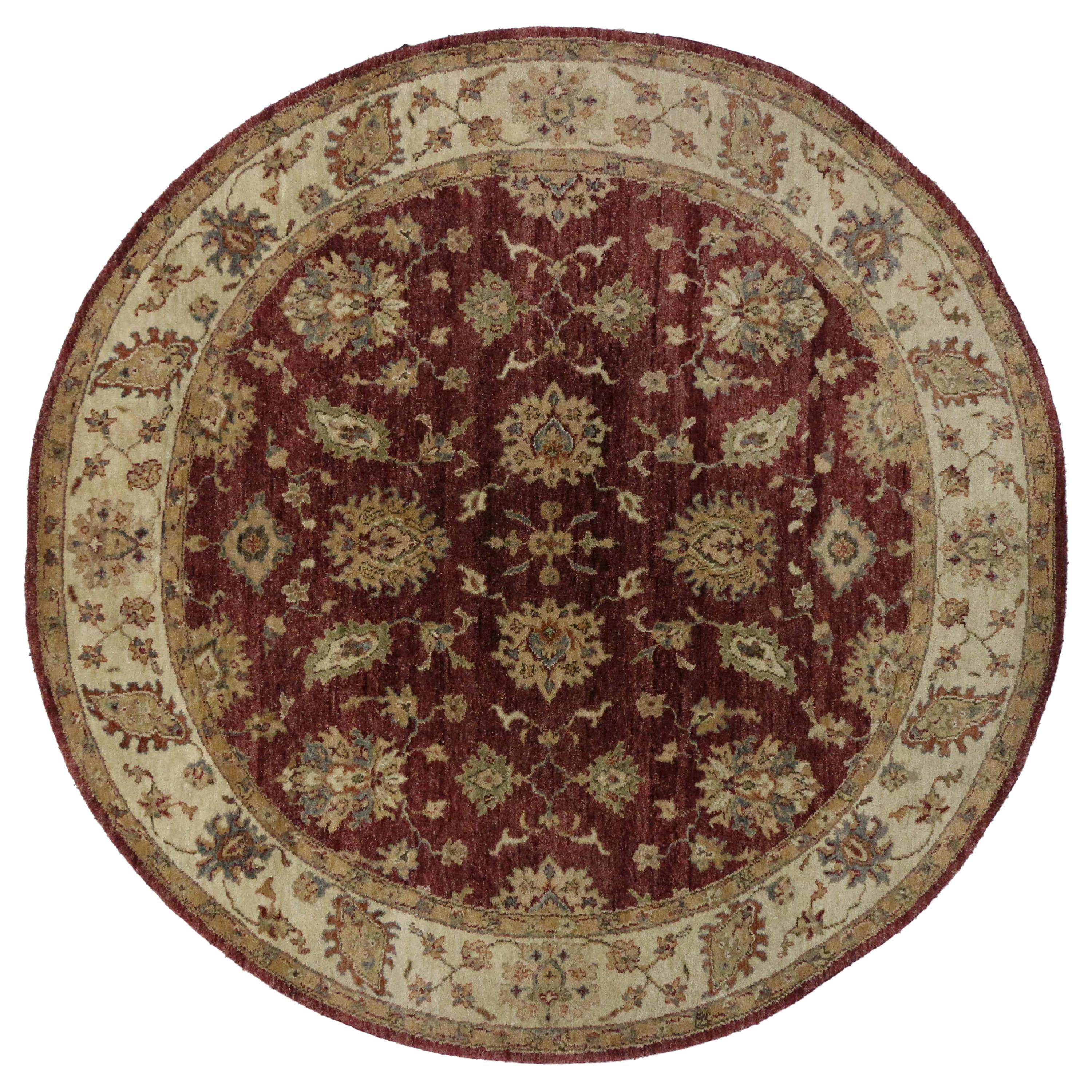 Vintage Indian Round Area Rug, Circular Rug with Traditional Style