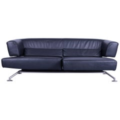 COR Circum Designer Sofa Black Leather Three-Seat Couch Function Modern