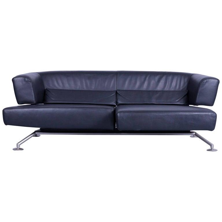 COR Circum Designer Sofa Black Leather Three-Seat Couch Function Modern