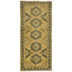 Vintage Turkish Oushak Gallery Rug with Neoclassic Style, Wide Hallway Runner