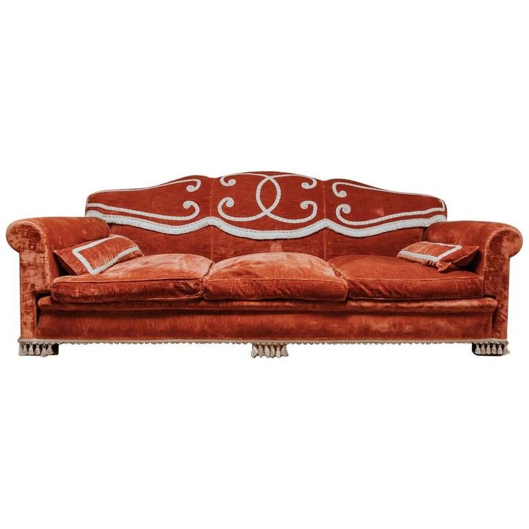 S French Velvet Sofa Or Canapé Original Upholstery At Stdibs - Canapé original