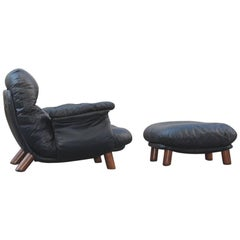 Lounge Chair with Ottoman 1970 Designer E. Cobianchi for Insa Made in Italy