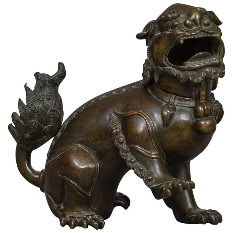 18th Century Bronze Lion Dog Censer