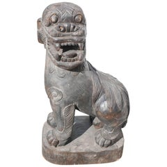 Massive Chinese 19th Century Hardwood Lion Dog