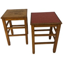 Unique 1940s Pine School Stools or Side Table
