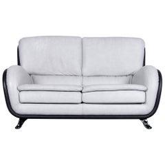 Nieri Designer Leather Sofa Grey Two-Seat