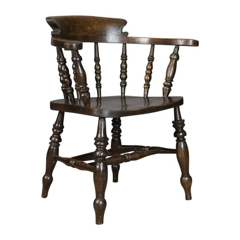 Antique Armchair, English, Victorian, Elm Bow Back, Smokers Captains Chair  For Sale - Antique Armchair, English, Victorian, Elm Bow Back, Smokers Captains