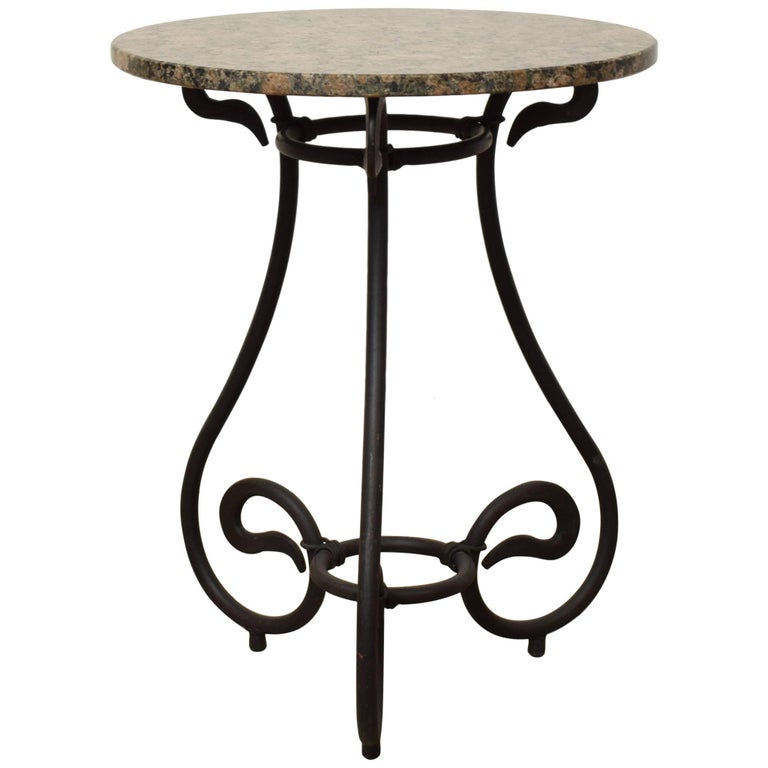 1950s Black Forged Iron Side Table with Granite Top For Sale