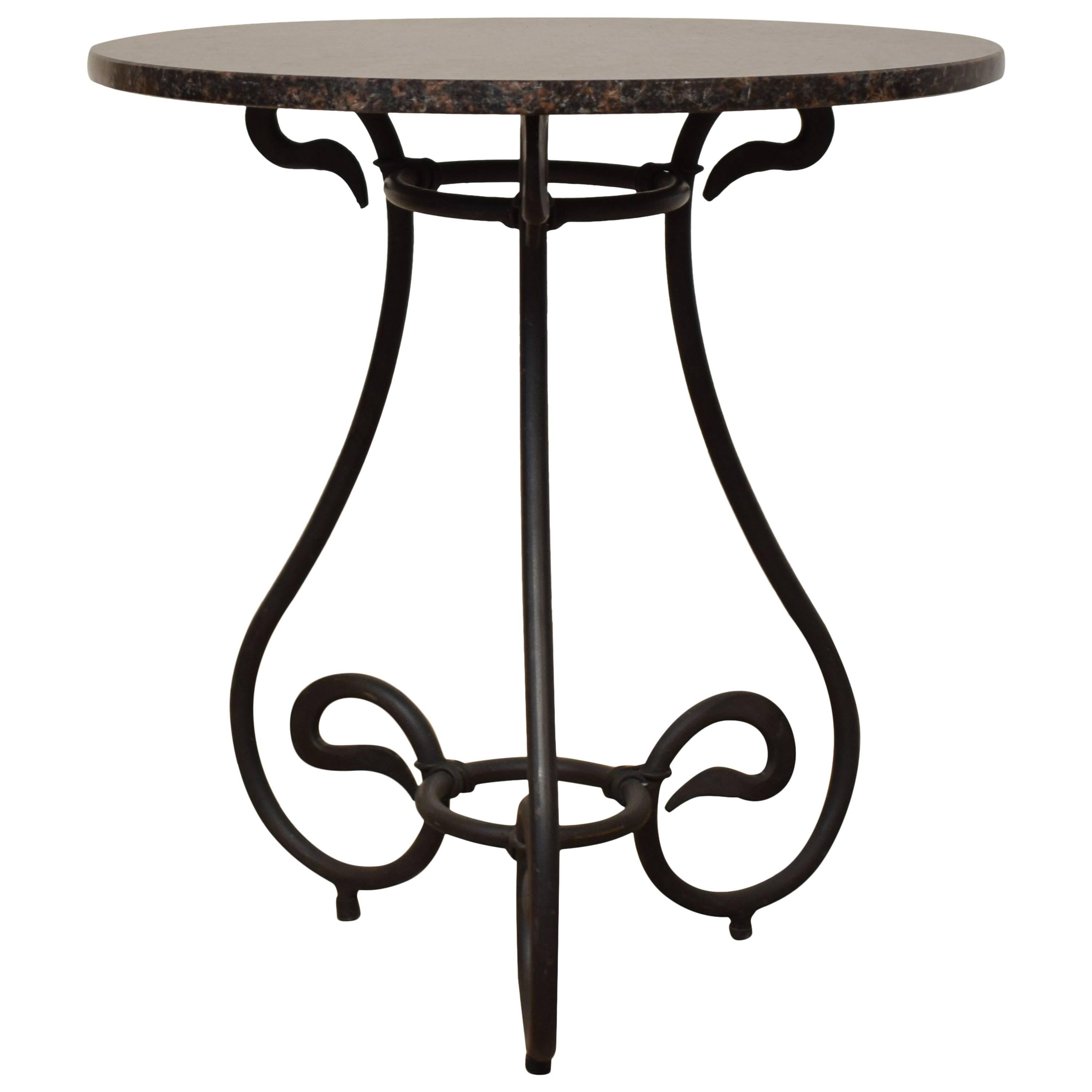 1950s Black Forged Iron Side Table with Granite Top