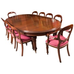 19th Century Victorian Oval Extending Dining Table and Ten Chairs