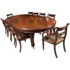 19th Century Victorian Oval Extending Dining Table and Ten Tulip Back Chairs