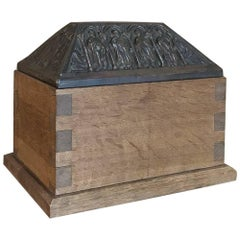 19th Century Dovetailed Wood Box with Pyrimidal Cast Brass Lid