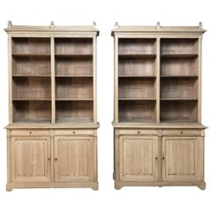 Pair of 19th Century French Gothic Stripped Oak Bookcases