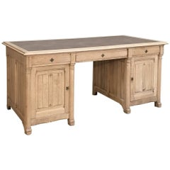 19th Century French Gothic Stripped Solid Oak Desk