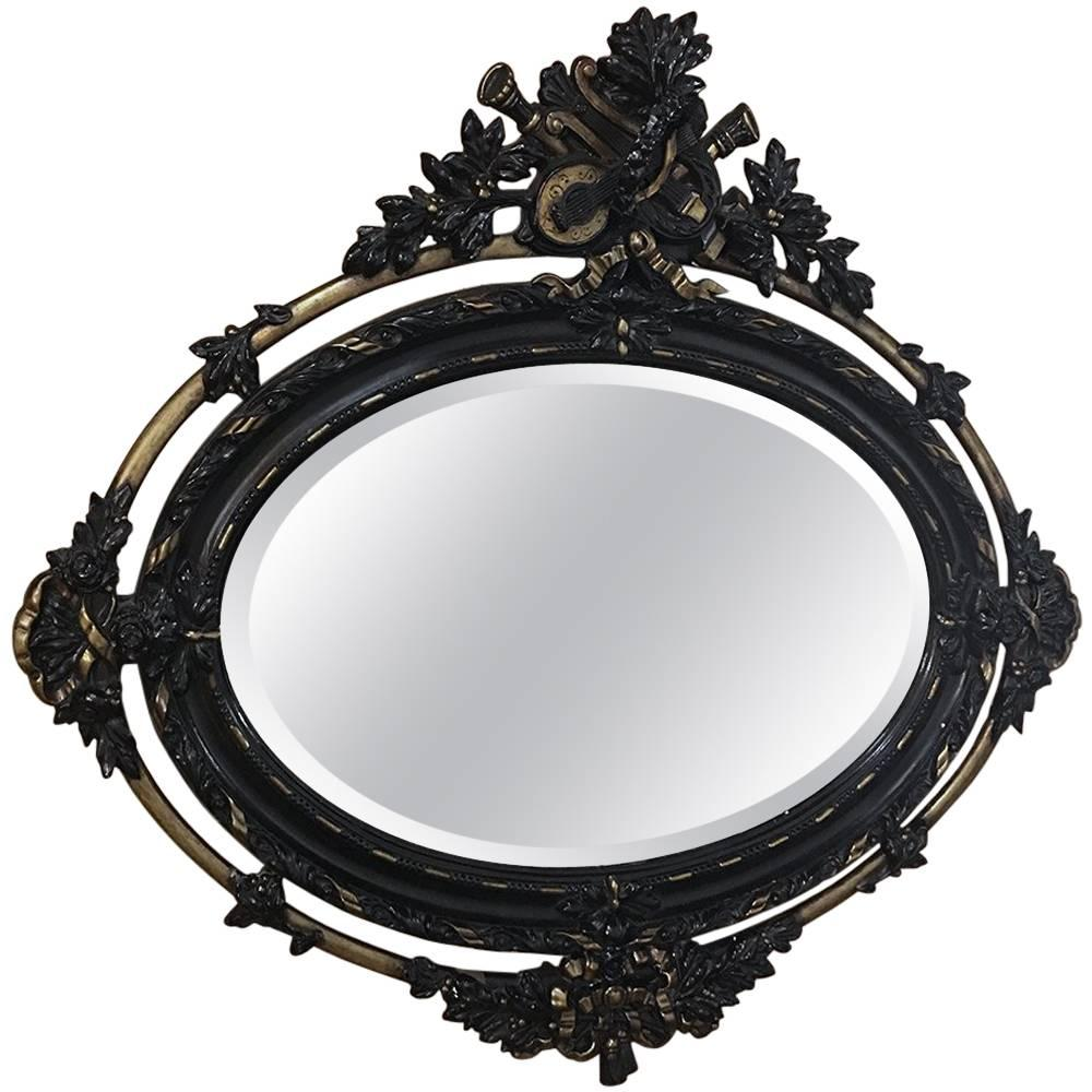 Antique 19th Century Louis XVI Painted and Gilded Oval Mirror