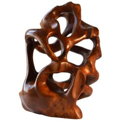 Large 1970s Abstract Organic Sculpture Hand-Carved in Yew