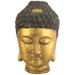 Sculpture of Asian Chinese Style Large Carved Head of Buddha