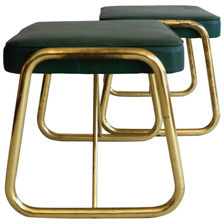 Pair of 1950s Italian Footstools, Brass and Green