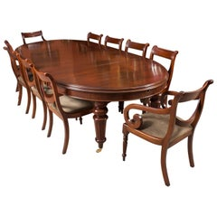 19th Century Oval Extending Dining Table and Ten Balloon Back Dining Chairs