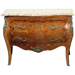 French Marble-Top Bombay Commode