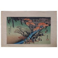19th Century Japanese Wood Bock Print of River Scene, Pencil Signed Hiroshige