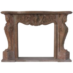 Classical Antique Style Carved Beige Red Granite Fire Surround