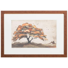 Vintage Hand Colored Etching of Tree