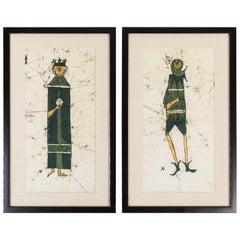 Pair of Vintage Batiks of King & Jester