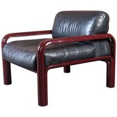 Gae Aulenti Knoll International Black Leather and Steel Armchair (6 available)