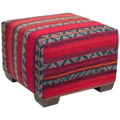 Custom-Made Ottoman in Vintage Wool East African Tent Panel