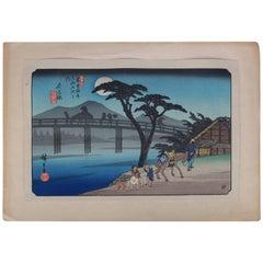 19th Century Japanese Wood Bock Print of Bridge Scene, Signed Hiroshige Utagawa