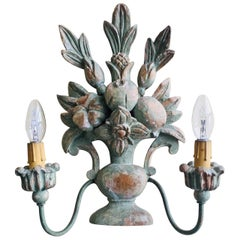 19th Century French Hand-Carved Painted Wood Sconce