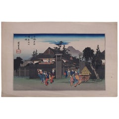 19th Century Japanese Wood Bock Print of Village Scene, Pencil Signed Hiroshige