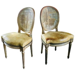 19th Century Pair of French Side Chairs with Cane Backs and Leather Seats