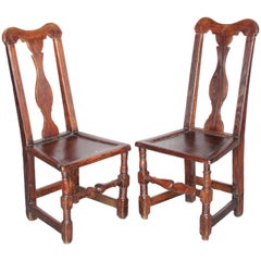 19th Century Pair of Walnut Side Chairs from Queen Anne Epoque