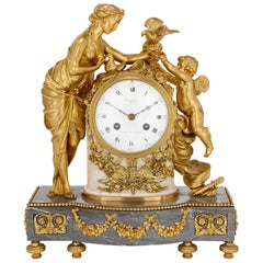 Antique Gilt Bronze and Marble Louis XVI Style Clock