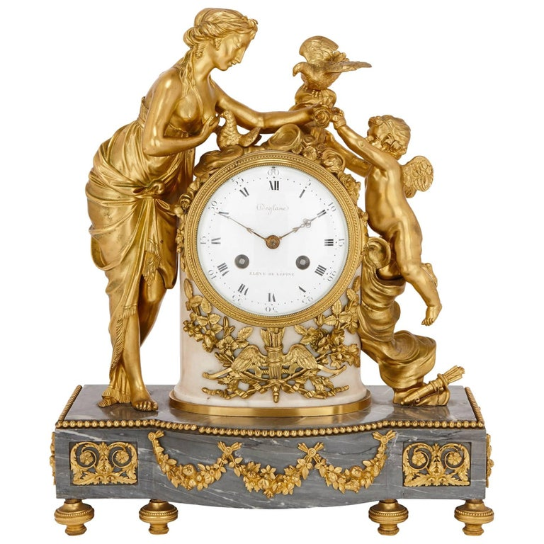 Antique Gilt Bronze and Marble Louis XVI Style Clock